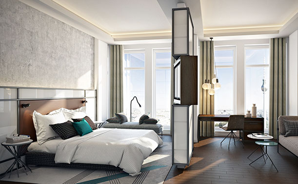 Bestechen durch eine geradlinig elegante Innenarchitektur: Die 16 Sky Suiten in der 37. Etage des Park Inn by Radisson Berlin Alexanderplatz. © Park Inn by Radisson Berlin Alexanderplatz