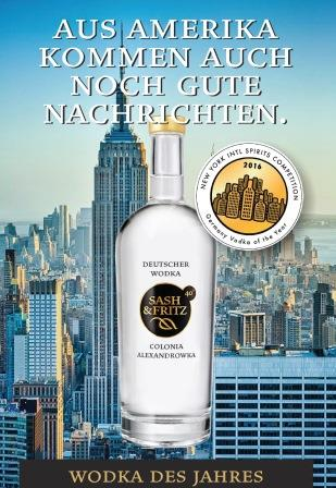 sash&fritz Germany Vodka of the Year Auszeichnung